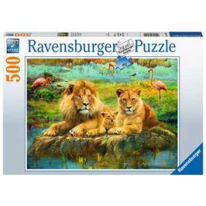 Puzzel 500 stuks leeuwen in de savanne