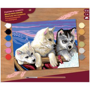 Schilderen op nummer huskies