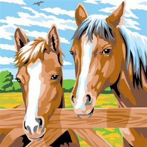 Schilderen op nummer paarden bij een hek