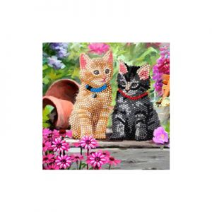 Crystal Art Kaart Katten 18 X 18 Cm