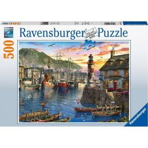 Puzzel 500 stuks 's ochtends bij de haven