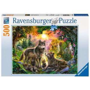 Puzzel 500 stuks wolvenfamilie in het zonlicht