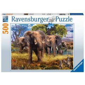 Puzzel 500 stuks olifantenfamilie