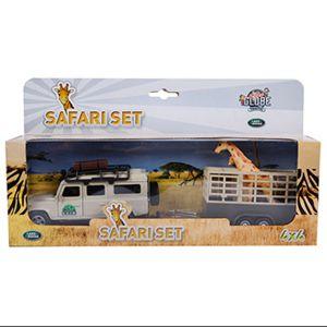 Safariset landrover met aanhanger en giraffe
