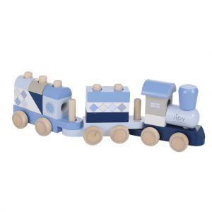 Jipy blokkentrein hout blauw