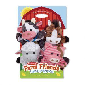 Handpoppen boerderijdieren 4 stuks