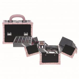 Casuelle Make-up Koffer Zwart Met Roze Gestreepte Binnenkant