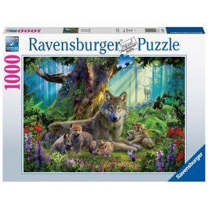 Familie Wolf in het pos puzzel 1000