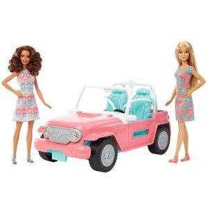 Barbie auto met 2 poppen