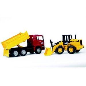 Vrachtwagen + bulldozer