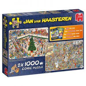 Puzzel Jan Van Haasteren Holiday Shopping 2 In 1 2x1000 Stukjes