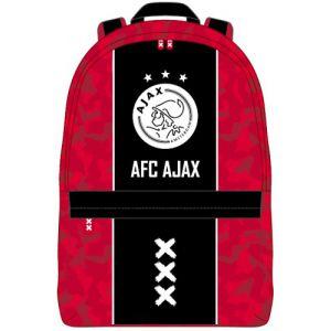 Rugzak Ajax klein rood met zwarte baan: 28x21x11 cm